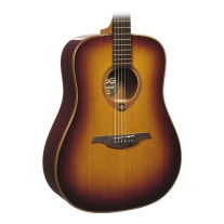 Lag T100DBRS Dreadnought Acoustic Guitar - Brown Shadow Sunburst