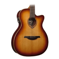 Lag T100DCEBRS Acoustic-Electric Dreadnought Brown Shadow Sunburst Guitar