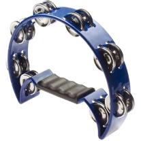 Stagg TAB2BL Half Moon Tambourine, 16 Jingles in Blue