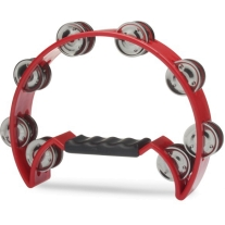 Stagg TAB2RD Half Moon Tambourine, 16 Jingles in Red