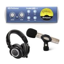 Presonus TubePre V2 Preamp, Joe Meek JM27 Microphone, ATH-M50X Headphone Bundle