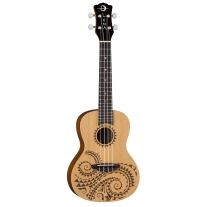 Luna Tattoo Series Concert Ukulele with Spruce Top
