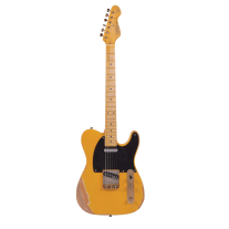 Vintage V52MRBS Icon Series Electric Guitar Distressed Butterscotch Finish