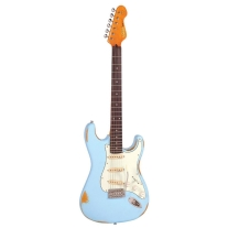 Vintage Icon V6MRLB '62 STRAT-Style Electric Guitar In Distressed Laguna Blue