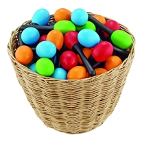 Menil Nino Plastic Egg Maraca Pair Assortment with Basket, 48 Piece