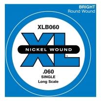D'Addario XLB060 Nickel Wound Bass Guitar Single String, Long Scale, .060