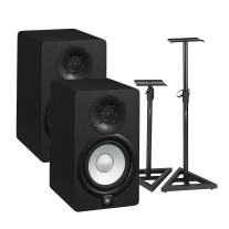 "Yamaha HS5 5"" Powered Studio Monitor Pair and Gator Stands Bundle"