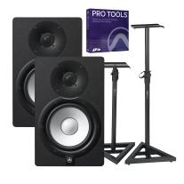 "Yamaha HS7 6.5"" Powered Studio Monitor Pair, Pro Tools and Gator Stand Bundle"