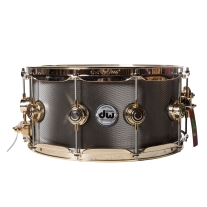 DW Collectors 6.5x14 Knurled Black Nickel Over Steel Snare Drum w/ Gold Hardware