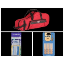 Alto Music Back to School Alto Sax Bundle with Red Gator Case and 2.5 Reeds