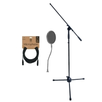 Buhne Industries BN180 Boom Stand, 25 Foot Mic Cable & Pop Filter