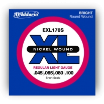D'Addario EXL170S Short Scale Nickel Bright Round Wound Electric Bass Strings
