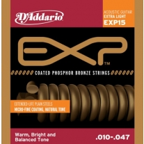 D'Addario EXP15 Coated Phosphor Bronze Acoustic Guitar Strings .10-.47