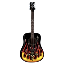 Dean Bret Michaels The Player Acoustic Guitar with Hot Rod Flames