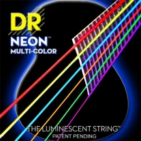 DR NEON NMCA12 Light Coated Phosphor Bronze Acoustic Strings, Mulit-Colored