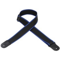 "Levy'S 2"" Polypropylene Logo Guitar Strap in Black with Blue Stripes"