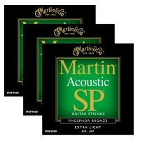 Martin MSP4000 Extra Light Phosphor Bronze Acoustic Strings (3-Pack)