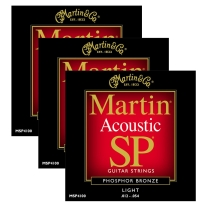 Martin MSP4100 Light Phosphor Bronze Acoustic String (3-Pack)