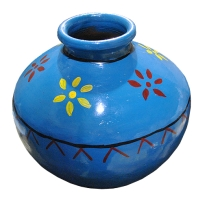 Mid East MTKA-B Matka Clay Pot Drum in Blue with Flowers