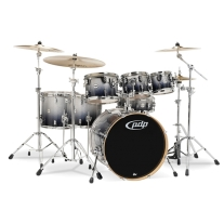 Pacific Drums Concept Maple 7pc Shell Kit Drumset Silver to Black Sparkle Fade