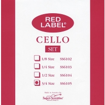 Super Sensitive SS6105 Red Label Medium Cello Strings 3/4