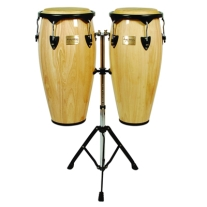 Tycoon Supremo Conga Set with Stand in Natural Finish