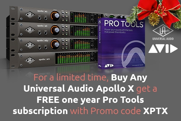 Buy Any Universal Audio Apollo X get a FREE one year Pro Tools subscription with Promo code XPTX